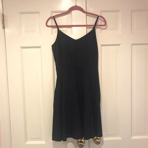 Sleeveless navy blue and pink dress